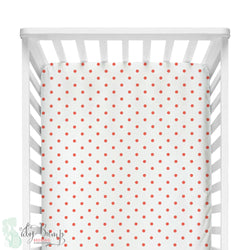 White & Coral Dots Fitted Crib Sheet