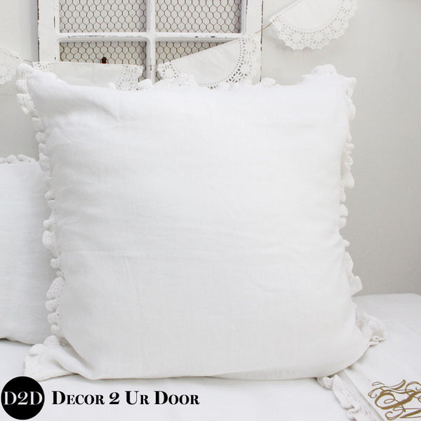 Ruffled White Crochet Linen Euro Pillow Cover