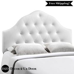 White Tufted Vinyl Headboard