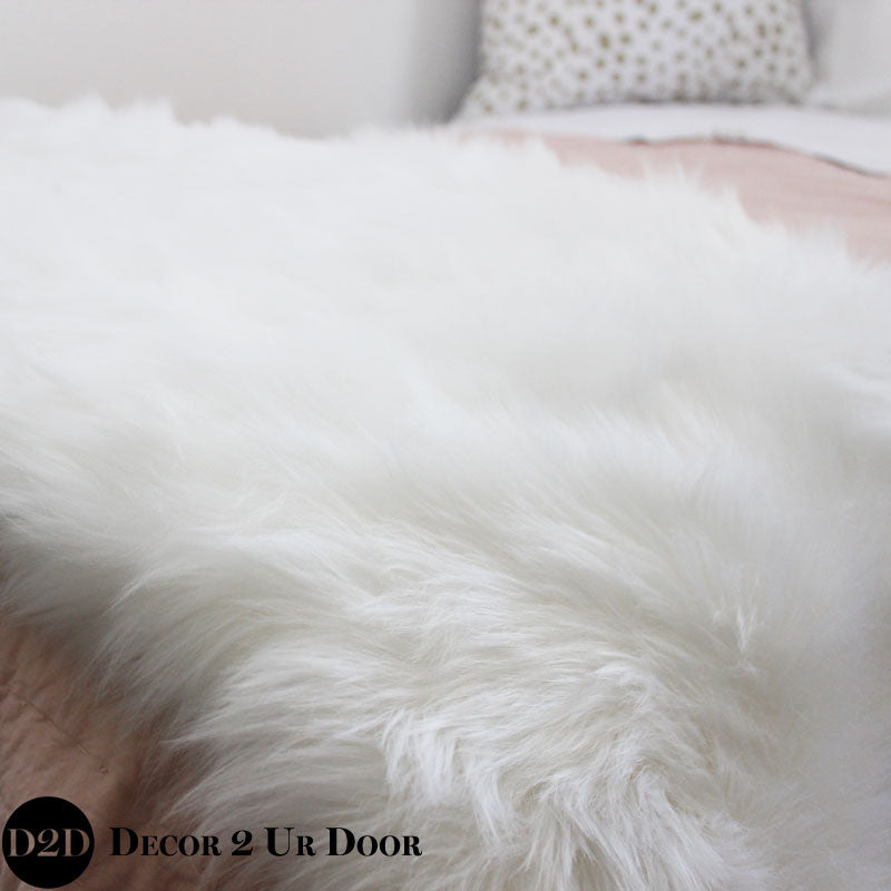 White Faux Fur Bed Scarf