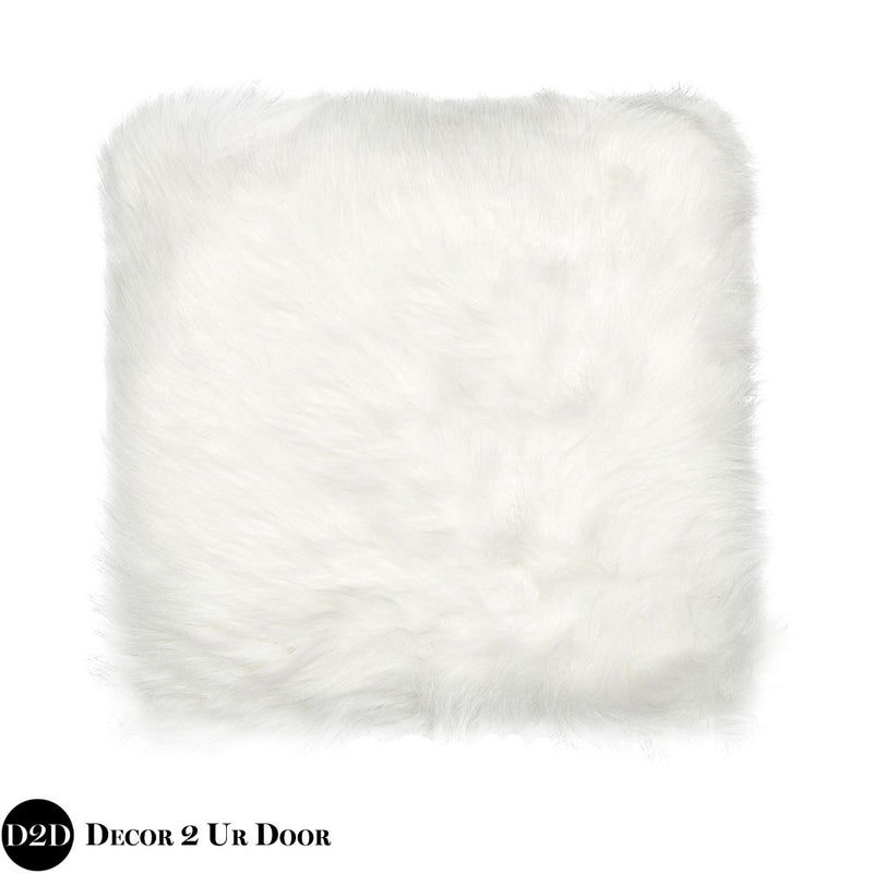 White Faux Fur Euro Pillow Cover