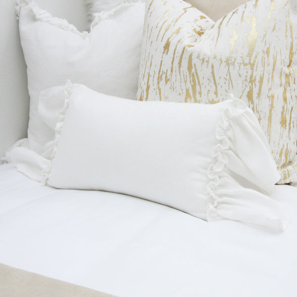 White Frilly Ruffled Lumbar Pillow Cover