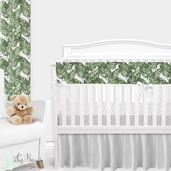 White & Green Palm Leaf Gender Neutral Crib Bedding Set
