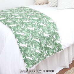 White and Green Leaf Bed Scarf
