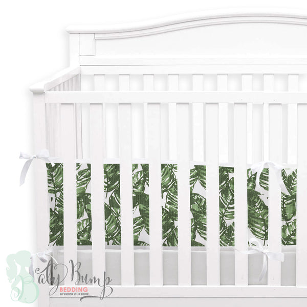 White & Green Leaf 2-in-1 Crib Bumper/Rail Cover