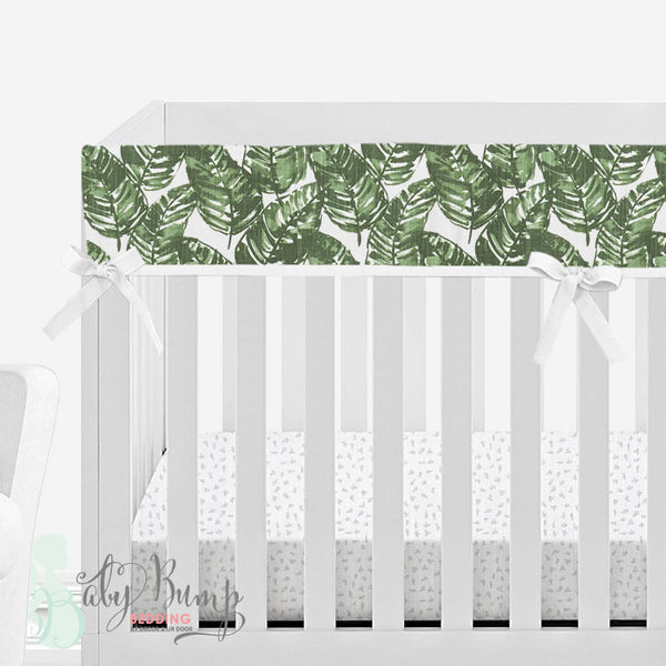 White & Green Leaf Baby Crib Rail Cover