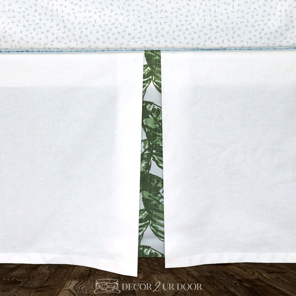 White & Green Leaf Baby Crib Skirt