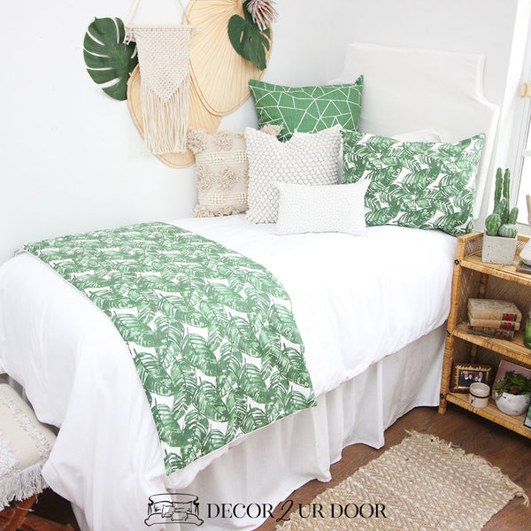White & Green Leaf Dorm Bedding Set