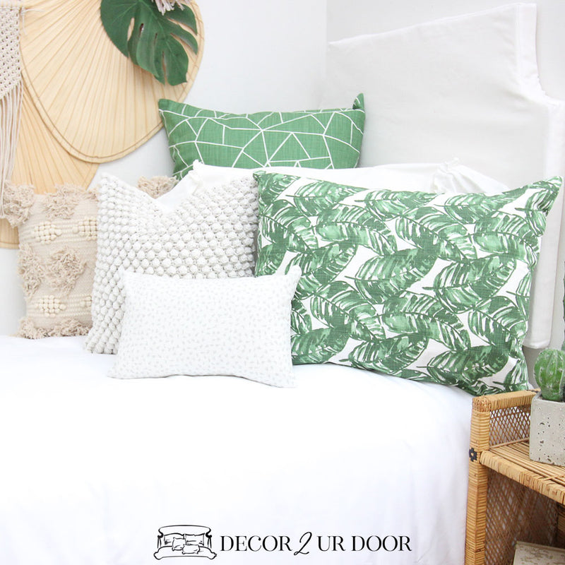 White and Green Leaf Designer Bedding Collection