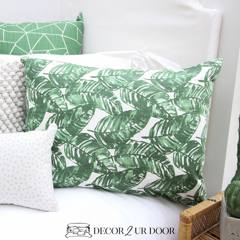 White and Green Leaf Designer Sham