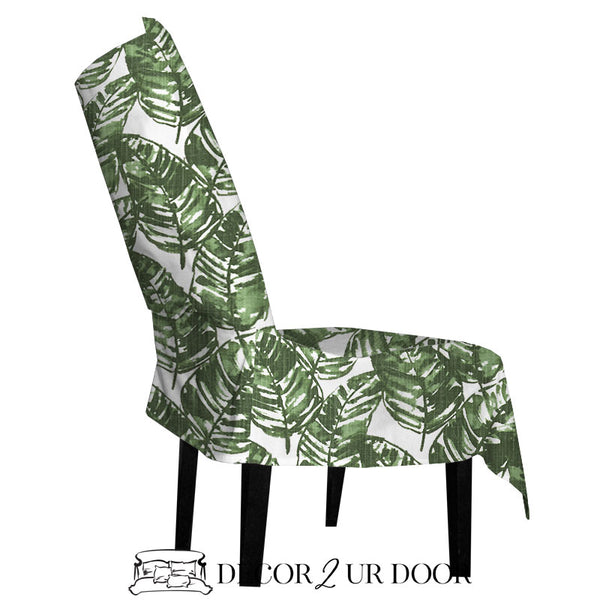 White and Green Leaf Dorm Chair Cover with Storage Pocket