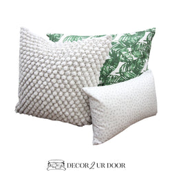 White and Green Leaf Pillow Pile