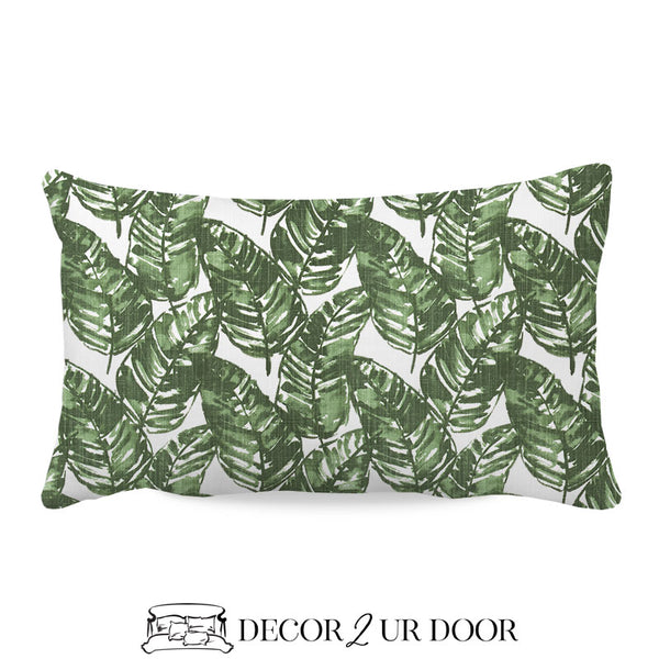 White & Green Leaf Lumbar Nursery Throw Pillow Cover