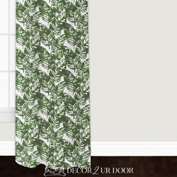 White and Green Leaf Custom Window Curtain/Closet Panel