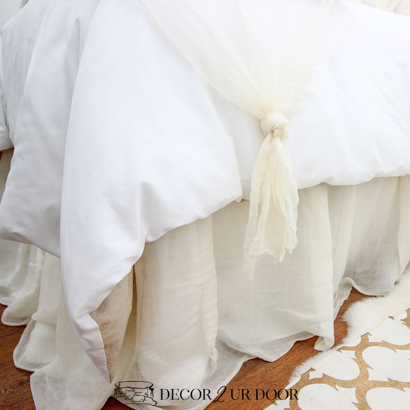 "Ivory Cheesecloth 15"" Drop Bed Skirt"
