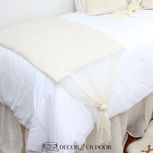 Ivory Cheesecloth Bed Scarf