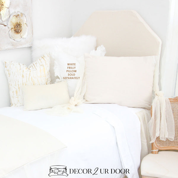 White & Ivory Cheesecloth Pillow Pile