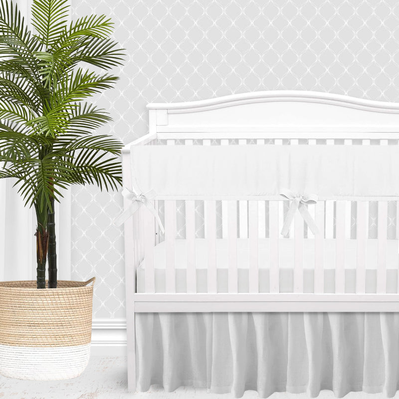 White Linen Gender Neutral Crib Bedding Set