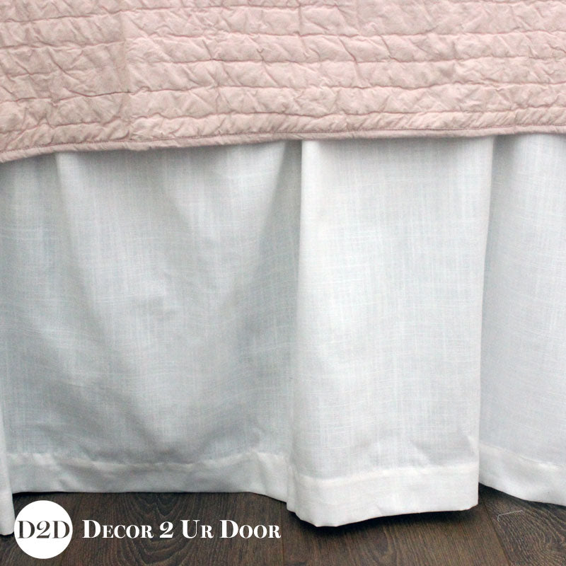 Solid White Linen Extra Long Dorm Bed Skirt