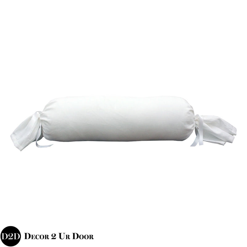 Solid White Linen Roll Pillow Cover
