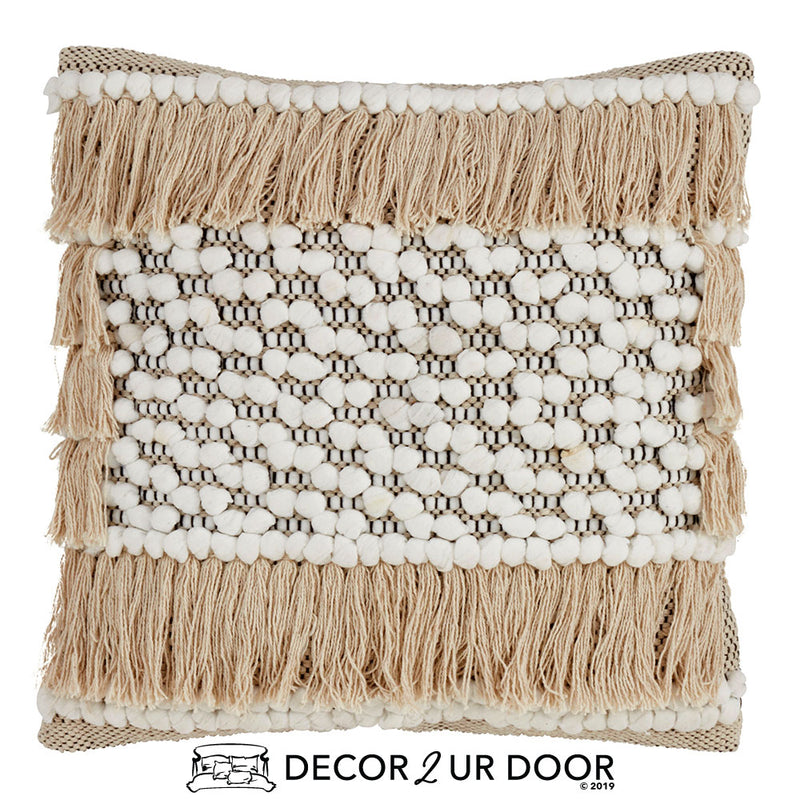 White Macrame Fringe Square Pillow Cover