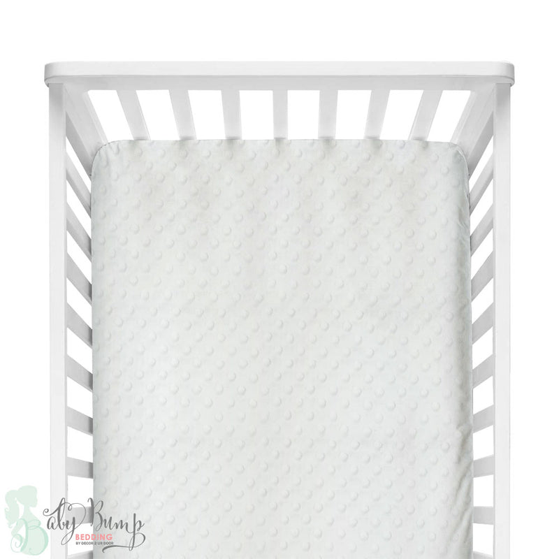 White Minky Dot Fitted Crib Sheet