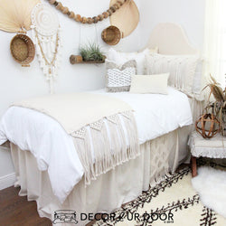 White Natural Macrame Dorm Bedding Set