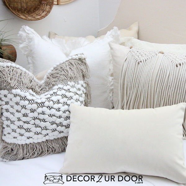 White and Natural Macrame Pillow Pile