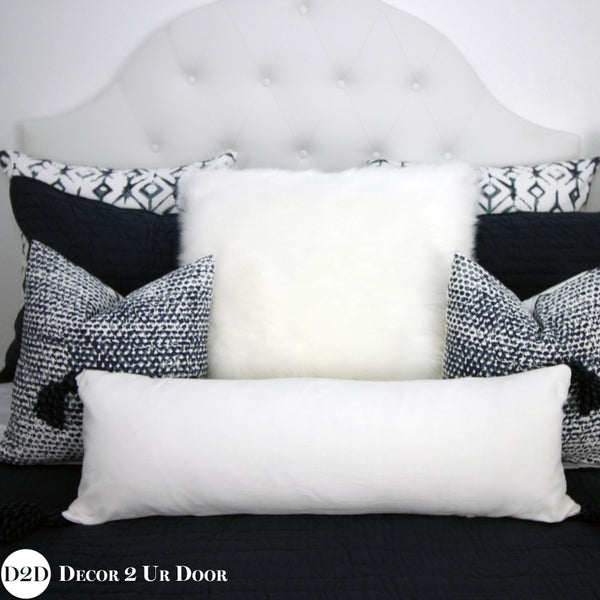 White & Navy Tassels Long Lumbar Pillow Cover