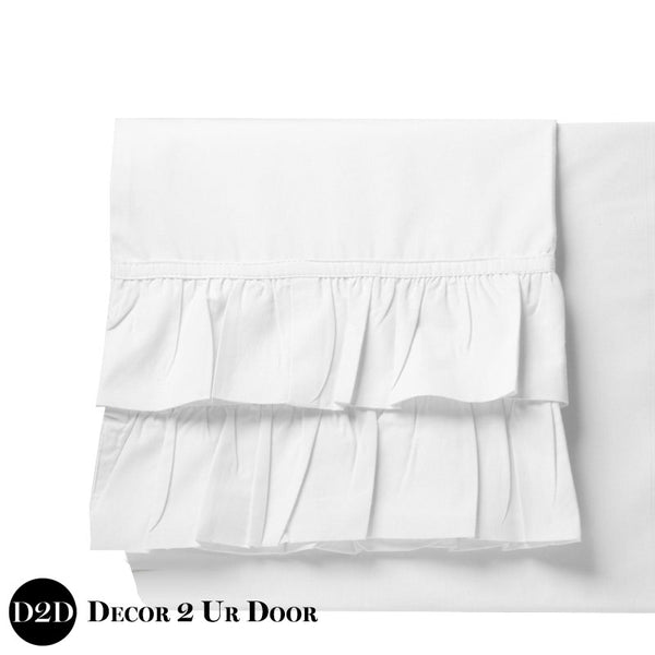 Set of 2 Solid White Ruffled Pillowcases