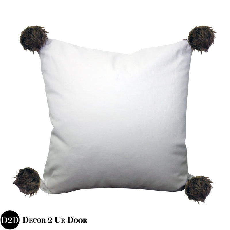 White & Brown Fur Pom Poms Square Pillow Cover