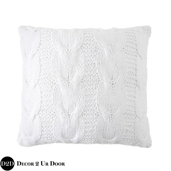 White Sweater Cable Knit Design Euro Pillow Cover