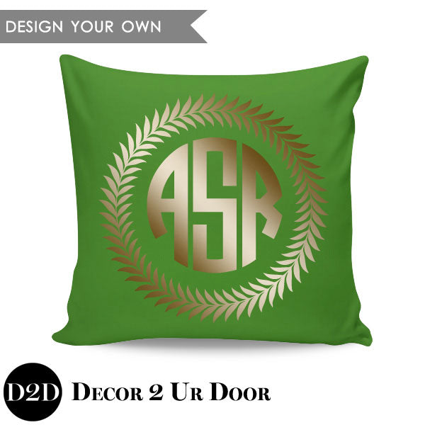 Wreath Border + Initials Monogram Square Personalized Pillow Cover