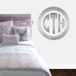 Wreath Border Monogram Personalized Vinyl Wall Decal