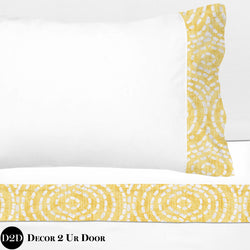 Yellow & White Dashed Circles 100% Cotton Banded Sheet Set