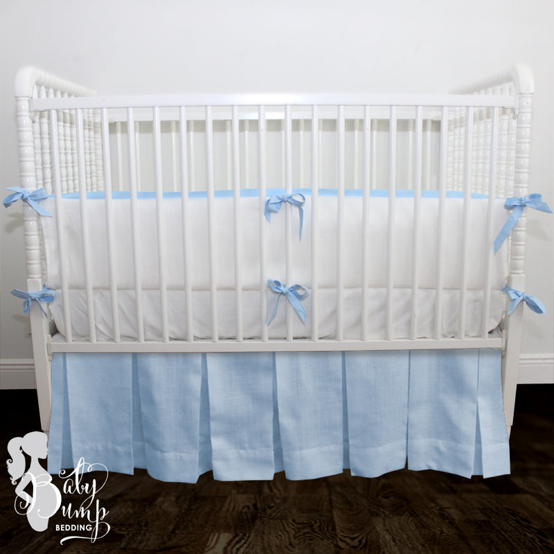 White Linen & Baby Blue 2-in-1 Crib Bumper/Rail Cover