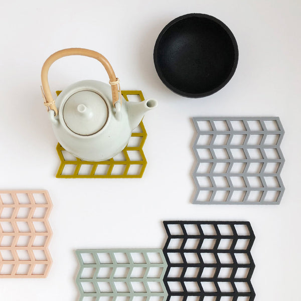 Silicone pot coasters in modern geometric pattern By May Stockholm