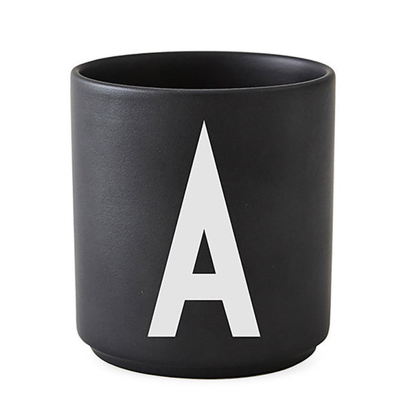 Design Letters black personal porcelain cup Arne Jacobsen Danish Design
