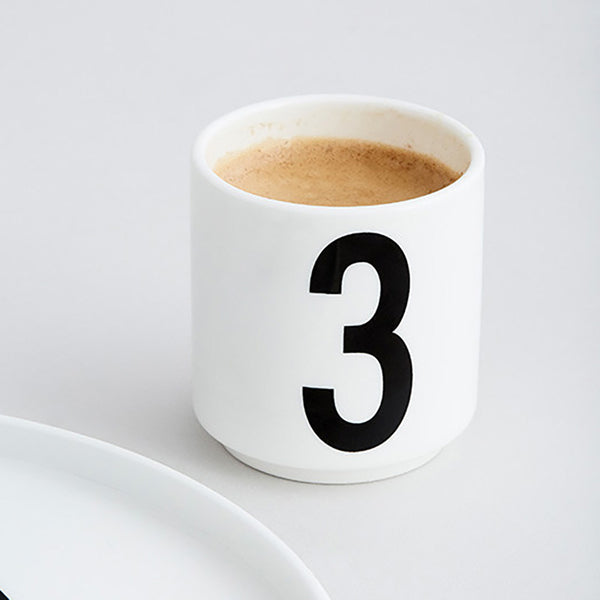 Design Letters white porcelain expresso cups 1234 font by Arne Jacobsen