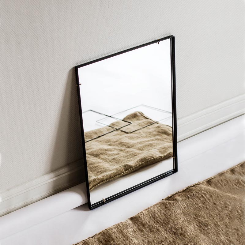 Enkl KG1 Mirror with black steel brass screw details