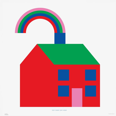 Stay Home Love Home by Paul Farrell charitable rainbow NHS print