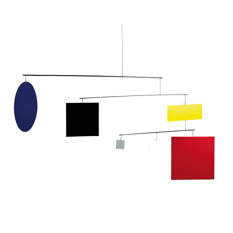 modern CircleSquare Guggenheim Mobile from Flensted with 5 simple shapes in primary colours