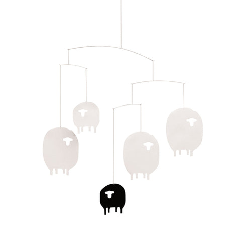 Flensted sheep mobile with 4 white and 1 black sheep hung on lightweight frame
