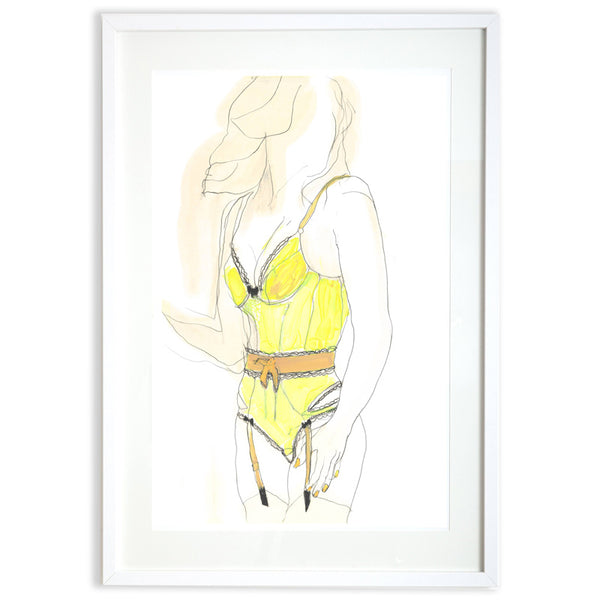 Contemporary figurative drawing Joanna Wilson Yellow Bodysuit