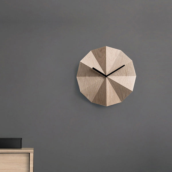 Danish brand Lawa Design Delta clock oak hanigng on wall