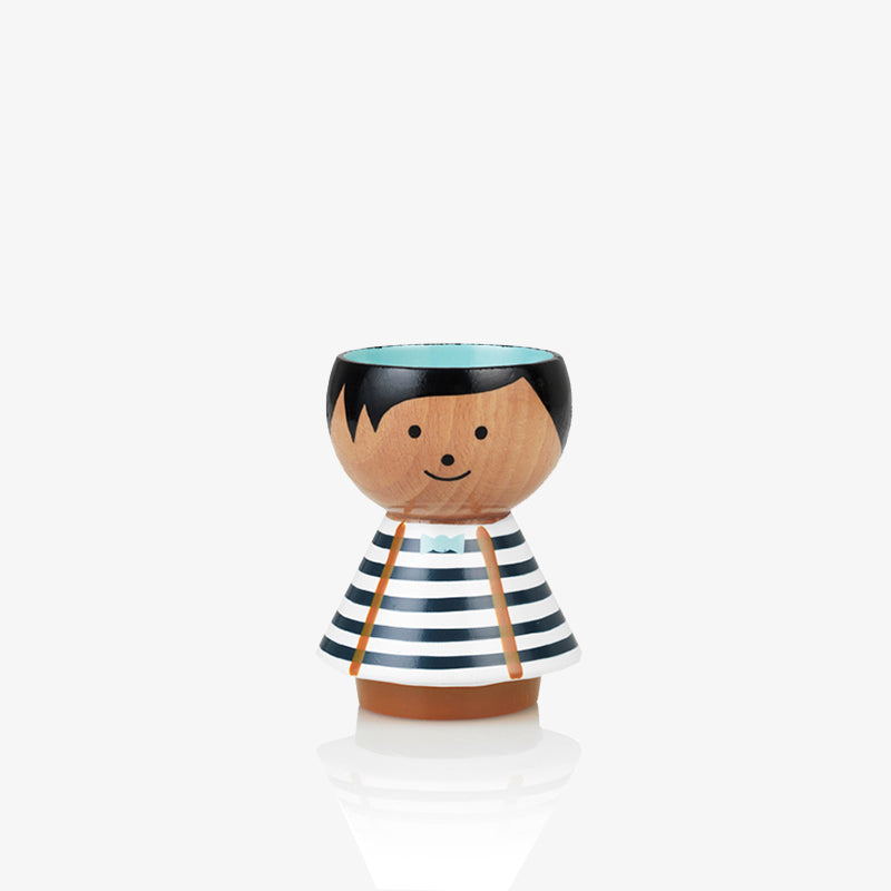 Boy in blue stripes Bordfolk egg cup by Scandinavian Lucie Kaas