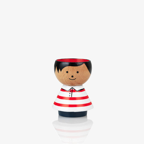 Bordfolk wooden eggcup handpainted as boy in red stripes Scandinavian brand Lucie Kaas