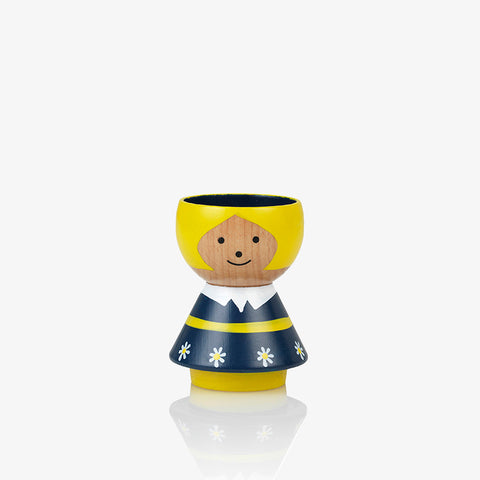 Bordfolk wooden eggcup handpainted  girl in blue Scandinavian Lucie Kaas