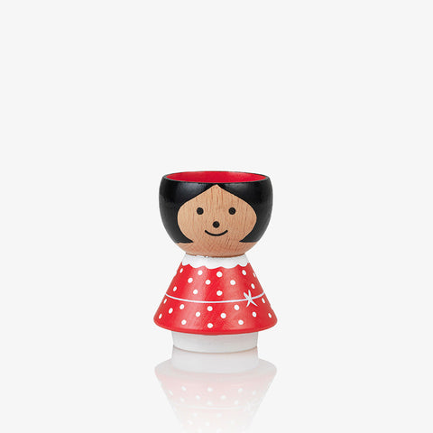 Bordfolk wooden eggcup handpainted  girl in red Scandinavian Lucie Kaas