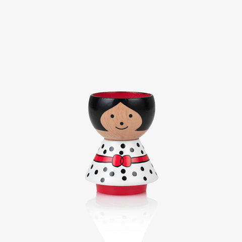 Girl in white with black polka dots Bordfolk egg cup Scandinavian Lucie Kaas